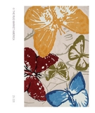 RugStudio presents The Rug Market America Resort Monarch Butterflies 25328 Red/blue/green Hand-Hooked Area Rug